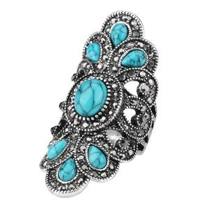 Antique Vintage Silver & Stimulated Turquoise Ring